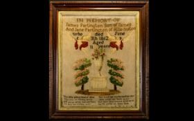 A Mid Victorian Sampler Dated 1862 In memory of James Partington, who died June 3rd, 1862,