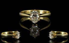 18ct Gold - Oval Cut Single Stone Set Diamond Ring, Marked 750-18ct. Top Quality Diamond.