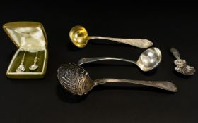A Mixed Collection Of Plated And Silver FlatwareTo include silver hallmarked caddy spoon,