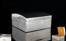 Edwardian Period Nice Quality Sterling Silver Small Lidded Box with domed cover and of plain form,