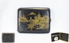 Japanese Damascene Cigarette Case, Gilt Decoration Showing Pagodas, Mount Fuji. Worn In Places,
