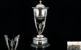 Empire Style Solid Silver Figural Lidded Vase/Cup with winged angel to central position standing
