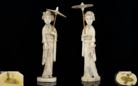 Japanese - Pair of Nice Quality Carved Ivory Figures Circa 1900.