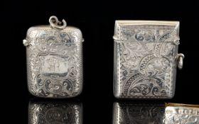 Victorian Period Excellent Quality Silver Hinged Vesta Case - Hallmark Birmingham 1900 J.G.