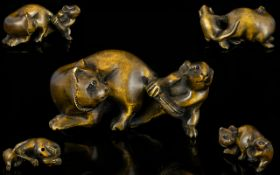 Japanese Superb Quality Signed Carved Boxwood Netsuke in the form of a cat and mouse circa Meiji