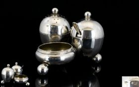 Late Victorian Period Nice Quality 3 Piece Novelty Silver Cruet Set with Integral Stand, Raised on 3