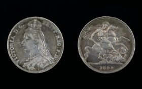 Victorian Silver Crown - Dated 1890. Jubilee Head, Good Toning and Condition. Please Study Photo.