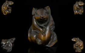 Japanese Superb Quality Signed Carved Boxwood Netsuke in the form of a rat/mouse with long tail