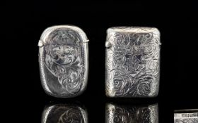 Victorian Period Ornate Silver Hinged Vesta Case with chased scroll decoration hallmark London 1898.