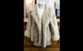 Blonde Mink Short Jacket, fully lined with slit pockets and revere collar. Good condition but some