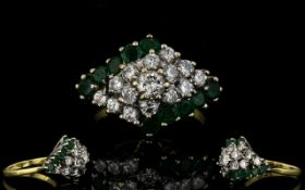 18ct Gold Attractive 1970's Emerald Cluster Ring flowerhead design.