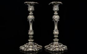 Elkington & Co A Pair Of Cast Silver Plated Candlesticks Of heavy,