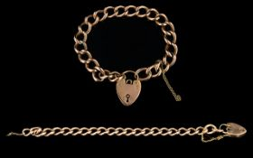 9ct Gold Bracelet with Attached 9ct Gold Heart Shaped Padlock. Fully Hallmarked for 9ct Gold.