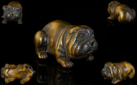 Japanese Superb Quality Signed Carved Boxwood Netsuke in the form of a Japanese bull dog,
