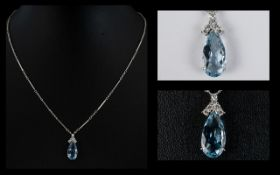 A Wonderful 18ct White Gold Aquamarine And Diamond Pendant Necklace Of elegant form set with a