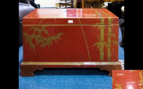 Oriental Red Lacquered Camphor Chest.