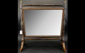 A 19th Century Toilette Mirror Swivel top mirror on base with three drawers,
