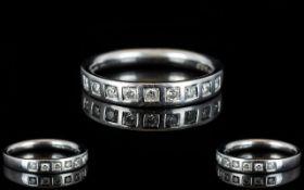 Platinum Half Eternity Diamond Set Ring - of attractive form,