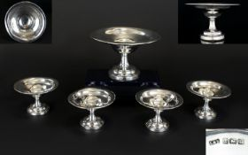 George V Nice Quality Set of 5 Sweetmeat Pedestal Dishes, One Large & 4 Smaller Ones of Plain Form