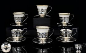 Antique Set of Six Silver Open-worked Coffee Cups and Saucers - Four with Ceramic Liners, All Marked