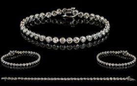 18ct White Gold Pave Set Diamond Line Bracelet of good quality and design,