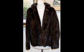 A Vintage Dark Mink Jacket Ladies Evening Jacket, Short jacket with revere collar,