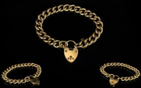 Antique Period 9ct Gold Curb Bracelet with 9ct large heart shaped padlock.