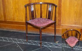 Edwardian Mahogany Inlaid Corner Chair Spindle back,