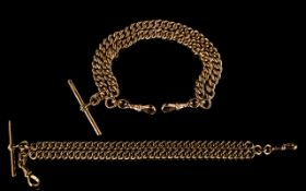 An Antique Superb Quality 9ct Rose Gold Double Albert Bracelet with attached T Bar and two 9ct gold