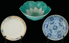 Three Oriental Bowls Decorated In Underg