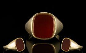 Gentleman's Heavy 9ct Gold Bloodstone Se