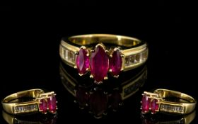 Ruby Marquise and White Topaz Ring, a 1c