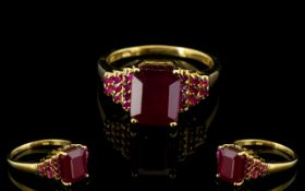 Ruby Octagon Solitaire Ring with stepped