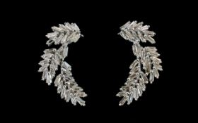 Diamond Pair of Curved Leaf Earrings, ea