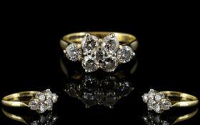 18ct Gold Pleasing 7 Stone Diamond Clust