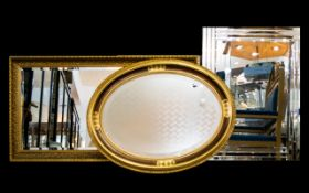 Three Bevelled Glass Mirrors Each in ver