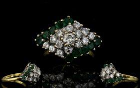18ct Gold Attractive 1970's Emerald Clus