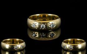 9ct Gold Wedding Band Set with 3 Diamond