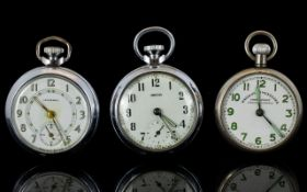 Three Open Faced Pocket Watches All with