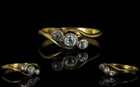 18ct Gold 3 Stone Diamond Ring, The Pave