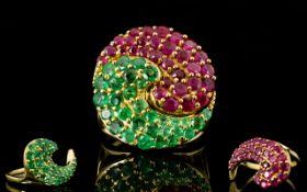 Emerald and Ruby Two Piece Ring, two pai