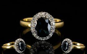 22ct Gold Attractive Sapphire and Diamon