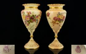 Royal Worcester Fine Pair of Quality Han