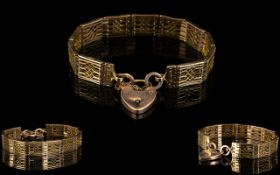 Antique Period Well Made and Solid 9ct Rose Gold Ornate Bracelet of Superior Quality with Open