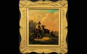 Unsigned 19th Century Oil on Metal (tin) Landscape with a peasant boy looking after goats at