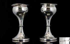 Art Nouveau Heavy Pair of Silver Tulip Shaped Vases of Excellent Form.