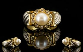 18ct Two Tone Gold - Pearl and Diamond Set Dress Ring, Flower head Setting, Solid Construction.
