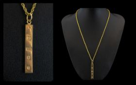 9ct Gold Ingot with Attached 9ct Gold Rope - Twist Chain. Hallmark London 1976.