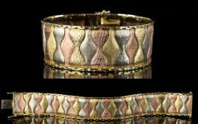Retro - 1970's Superb Quality 9ct Gold Multi-Colour Bracelet, Stylish Design & Wide Construction.