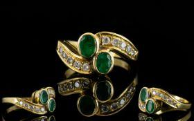 Ladies - Attractive 18ct Gold Emerald and Diamond Set Dress Ring ( Snake Eye ) Design,